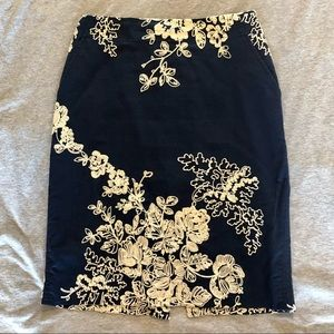 J. Crew navy cotton embroidered pencil skirt, 0